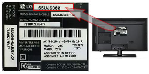 Identificare model tv